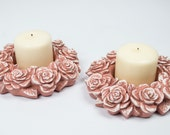Pillar Holder Pair / Romantic Hand Painted Dusty Pink Roses Kissed in White / Cottage Chic Candleholders
