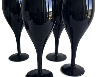 80s Chic Black Crystal Wine Goblets 4 Elegance Crystal Water Goblets Mikasa Crystal Stemware Black Wine Glasses