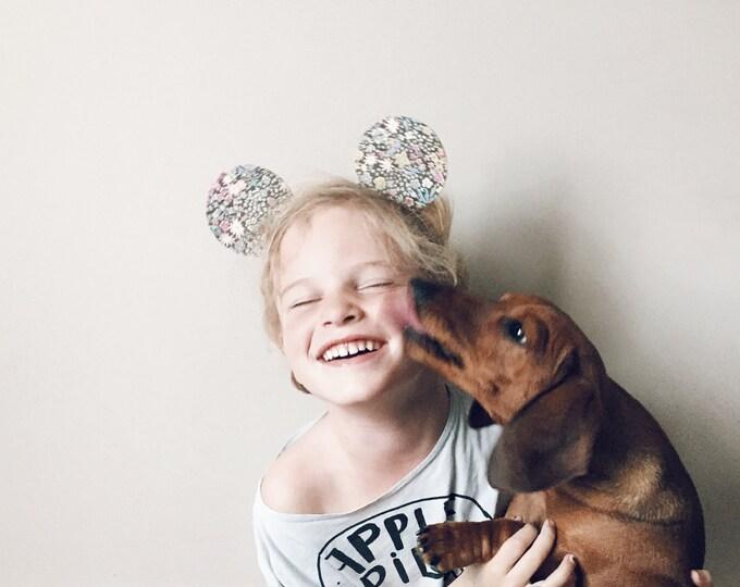 Featured listing image: Mickey Ears Headband Glitter Reversible, Brown Floral, giddyupandgrow