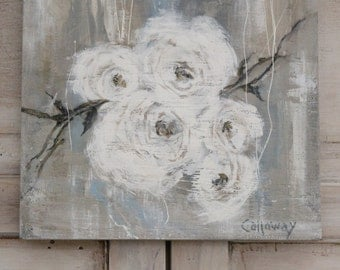 ORIGINAL 12x12 Wood Hand Painted..White ROSES on wood..Salvage Frame..Cottage Shabby Chic, French, Jeanne d Arc style. SIGNED