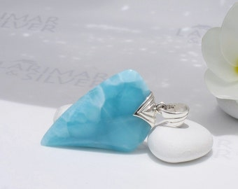Larimarandsilver pendant, Dragon Shark - turquoise Larimar tooth, Caribbean blue, blue shark, turtleback blue tooth handmade Larimar pendant