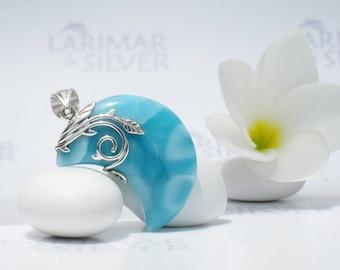 Larimarandsilver pendant, Secrets of the Moon - turquoise Larimar crescent, blue moon, turtleback, organic design, handmade Larimar pendant