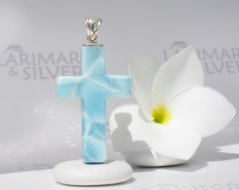 Larimar cross by Larimarandsilver, Source of Purification - turquoise Larimar cross, rushing water, soft blue cross handmade Larimar pendant