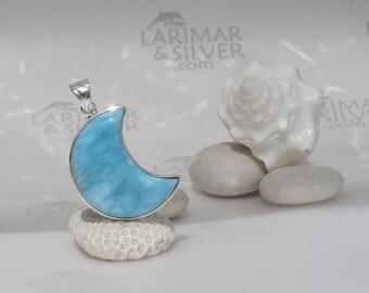 Larimar moon pendant, Moon over Turquoise Water - azure Larimar crescent, blue moon, water blue, turquoise Larimar, Selene, handmade pendant