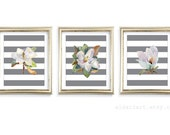 Magnolia Art Prints - Magnolia Wall Art - Watercolor Magnolia Flowers Prints - Set of 3 - Modern Decor - Aldari Art