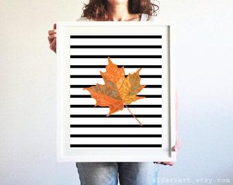 Autumn Leaf Art Print - Maple Leaf Wall Art - Fall Decor - Black and White Stripes - Halloween Decor - Modern Rustic Home Decor - Aldari Art