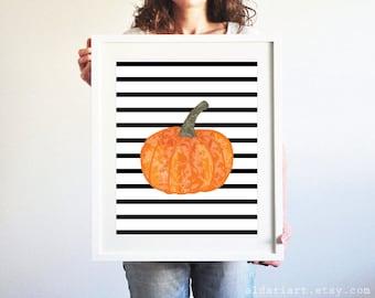 Pumpkin Art Print - Pumpkin Wall Art - Fall Decor - Black and White Stripes - Halloween Decor - Modern Rustic Home Decor - Aldari Art