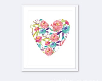 Watercolor Floral Heart Art Print - Modern Heart Wall Art - Heart Poster - Nursery Heart Print - Floral Decor - Aldari Art