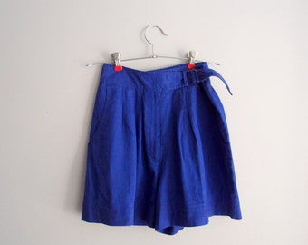 80s-90s High Waist Shorts / cobalt blue Cotton Linen skirty shorts ... 26 waist