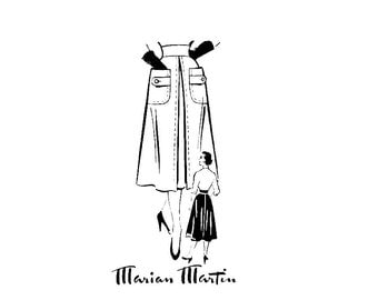 1940s skirt pattern / 40s 50s Marian Martin 9319 flared skirt with button band patch pockets