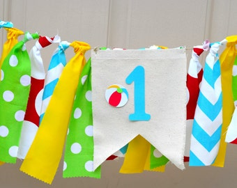 Beach Ball Banner Highchair bunting Pool Party Decorations Beach ball Birthday Banner Smash Cake Baby Photo Prop First Birthday 1st