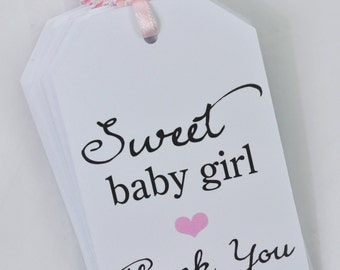 Girls Baby Shower Thank You Gift Tags, Sweet Baby Girl Favor Tags, Party Favor Tags, Baby Shower Gift Tag - Set of 12 - READY TO SHIP