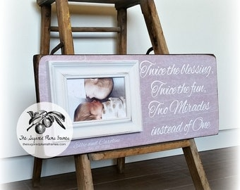 Twins Baby Gift, New Baby Twin Frame, Twice The Blessing, 8x20 The Sugared Plums Frames