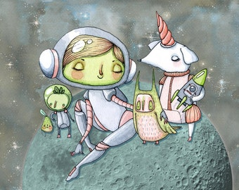 It's Easy to Make Friends in Space - A5 Print - astronaut girl moon planet adventure friendly creature beasts aliens pear unicorn dog rocket