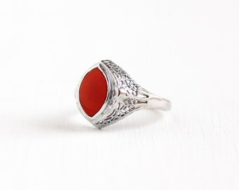 Sale - Vintage 14k White Gold Filigree Carnelian Ring - Antique Size 5 1/2 Art Deco 1920s 1930s Dark Red Gemstone Fine Jewelry