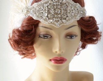 Couture Bridal 1920s Ivory and Champagne headpiece, Gatsby Bridal headband, Peacock feather, Rhinestone and Pearl headband, Art Deco