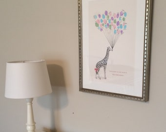 Large Giraffe Thumbprint Balloon Print - Baby Shower or Party or Birthday