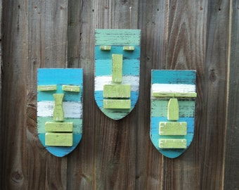 "Tiki Set ""SEA BREEZE"", Weathered Style Tiki Masks, Wood Sculpture, Tropical Island, Tiki Man, Tiki Bar"