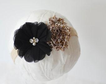Black and Tan Headband, Leopard Print Headband, Leopard Baby Headband, Black Infant Headband, Cheetah Headband, Newborn Photo Prop