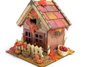 Harvest Birdhouse Thanksgiving Decor  Autumn Centerpiece Decorated Bird House Decoupaged Fall Holiday Decoration Holiday