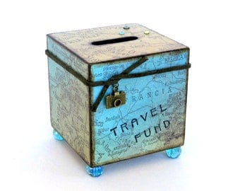 Travel Coin Bank Vacation World Map Decoupaged Wood Square Savings Bank Piggy Bank Vintage Style Map Aqua and Green
