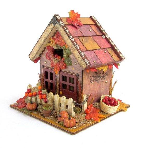 Harvest birdhouse thanksgiving decor autumn centerpiece for Harvest decorations for the home