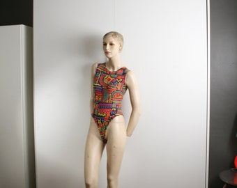 Anne Klein bodysuit abstract colorful vintage 1980's XS
