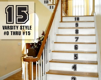 Stair Stickers Number Decorations, Varsity Sports Numbers Vinyl Decals, Vinyl Stair Riser Sticker Decals, Vinyl Number Decal (0172a51v-r2c3)