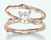 Rose Gold Twig Engagement Ring | White Sapphire Bridal Set