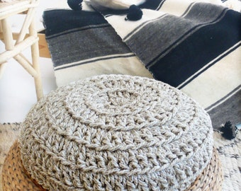 Floor Cushion Crochet  - Thick Linen
