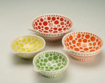 Set of 4 Measuring Cups - Hand Painted Polka Dots, Spots, and Spirals