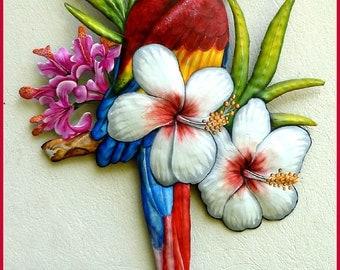 Metal Art, Parrot Art, Tropical Art, Hand Painted Metal Art, Scarlet Macaw Wall Hanging - Tropical Home Decor- Metal Wall Art -  K7401
