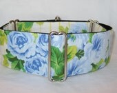 SALE Bluebell Martingale Dog Collar - 1.5 or 2 Inch - beautiful floral flower yellow blue stripe rose bloom