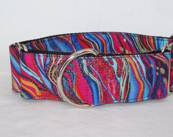 Electric Zebra Martingale Dog Collar - 1.5 or 2 Inch - colorful stripes gold red blue exotic fun