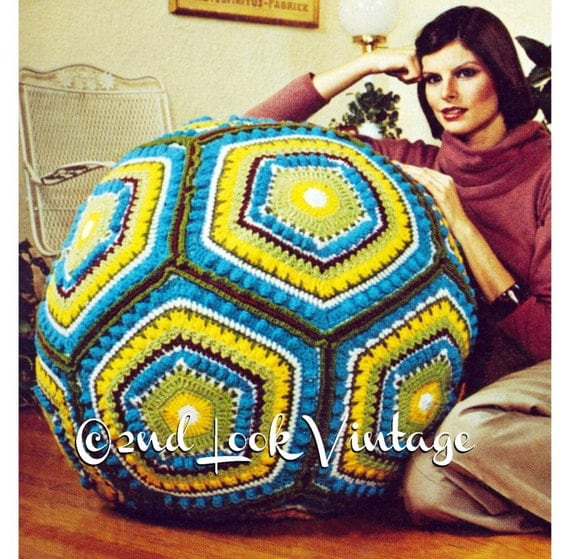 Floor Pillow Crochet Pattern : Items similar to Vintage Crochet Pattern Giant Granny Square Pillow Ball Floor Cushion Digital ...