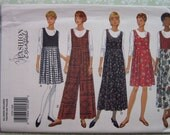 Very Easy to Sew Misses Jumper, Jumpsuit and Top sizes XS S M L XL Vintage 1990's Butterick Pattern 3755 UNCUT