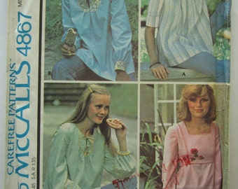 Vintage 1970s Misses Set of Yoked Tops with Sleeve and Neckline Variations Size Small (10-12) McCalls Pattern 4867 UNCUT