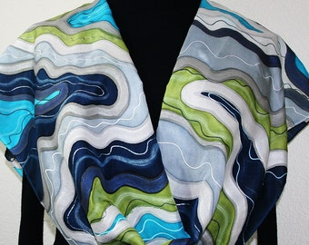 Silk Scarf Hand Painted Silk Shawl Olive Blue White Hand Dyed Silk Scarf DENIM CHIC 2 Large 14x72 Birthday Gift.Anniversary Gift