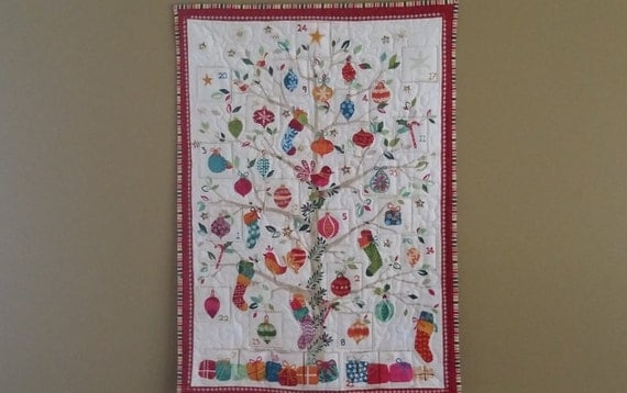 Quilted Advent Calendar Wall Hanging Embellished With Glass