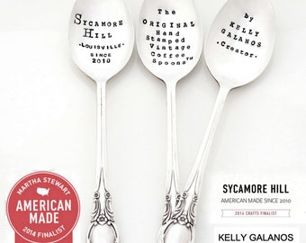 CUSTOM  SPOON. The Original Hand Stamped Vintage Coffee and Espresso Spoons ™  by Sycamore Hill. Personalized Silverware Teaspoons tea spoon
