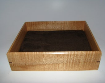 """Figured Maple Valet Box. Wooden Tray Upholstered in Suede Fabric. 8"""" x 6.75"""" x 2"""""""