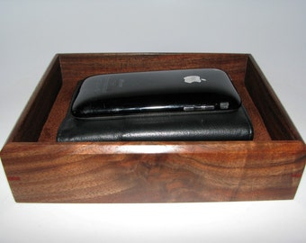 "Compact Valet Tray in Walnut. 7"" x 5.5"" x 1.75"". Dresser Box. Watch Tray."