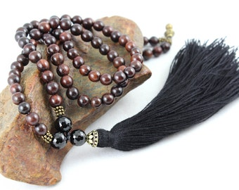Rosewood Mala Beads, Black Tourmaline, Wood Bead Necklace, Gemstone Mala, Mens Mala, Meditation Beads, Prayer Beads, Tassel Necklace, 108