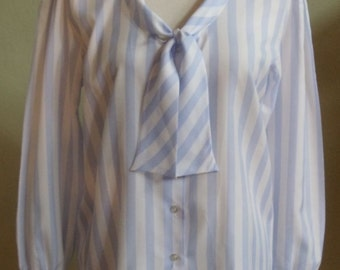 """Vintage 70's Lucky Winner Long Sleeved White and Periwinkle Blue Striped Blouse with Front Ties Bust 40"""" Waist 40"""""""