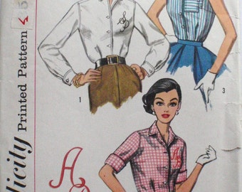 1950's Vintage Sewing Pattern - Shirtwaist Button Front Blouse with Alphabet Transfer - Simplicity 2195 - Size 18, Bust 38