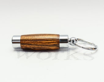 Wood Perfume / Aromatherapy Holder Key Chain - Bocote with Chrome Accents (Gift Ready)