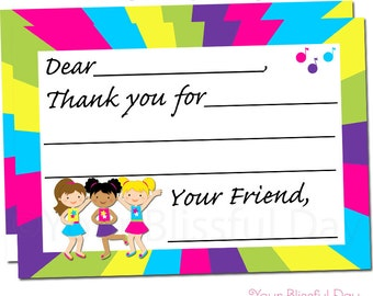 Dance Party Thank You Cards | Dancing Thank You Card | Dance Stationery | Dance Party | Girl Dance Thank You Cards #5003