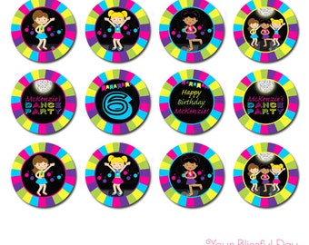 Girl Dance Party Circles | Girl Dance Party Cupcake Toppers | Girl Dance Stickers | PRINTABLE Girl Dance Party Circles #5003
