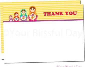 Matryoshka Doll Thank You Cards | Russian Nesting Dolls Thank You Card | Matryoshka Doll Thank You Card | Matryoshka Stationery #551