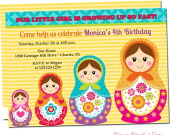 Matryoshka Doll Party Invitation | Russian Nesting Doll Birthday Invitations | Matryoshka Doll Birthday Party Invitations #551